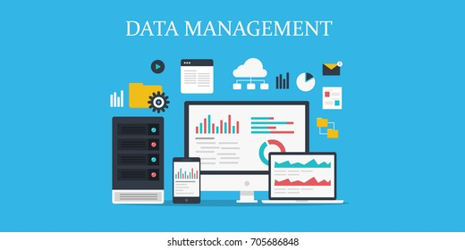 Data management, Data center, Protection, Storage, digital privacy, network server flat vector illustration with icons isolated on blue background