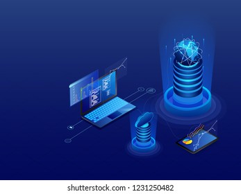 Data Management concept with 3d illustration of laptop connected with cloud server and database on glossy blue background.