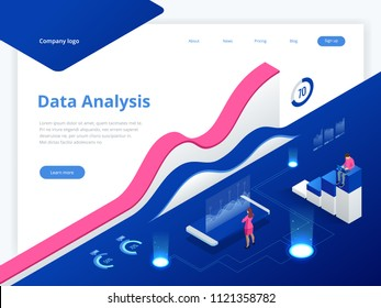 Data Management System and Business Analytics Concept isometric vector illustration. Hosting Server or Data Center Room web banner