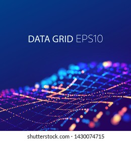 Data mesh connection. 3d futuristic background. Energy colorful wave