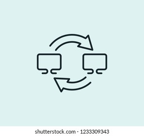 Data migration icon line isolated on clean background. Data migration icon concept drawing icon line in modern style. Vector illustration for your web mobile logo app UI design.