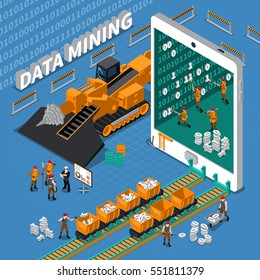 Data mining abstract isometric concept with tablet image and miner workers on blue background vector illustration