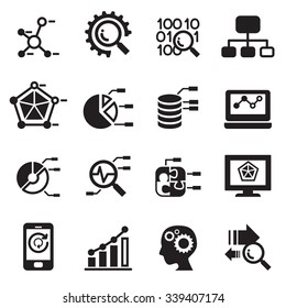 Data mining, Database, Data analysis icons set