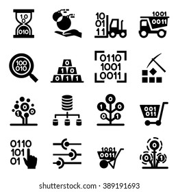 Data mining Technology , Data Transfer , Data warehouse analysis icon set