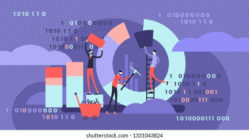 Data mining vector illustration. Flat tiny chart graph creation person concept. Symbolic data pie, diagram research. Isometric analysis software process. Abstract information collection visualisation.