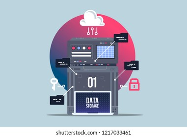 Data network management. Big data machine learning algoritm visualization. analytics concept saftey and security concept. Flat illustration style.