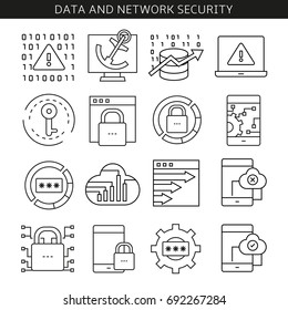 data and network security icons in line style