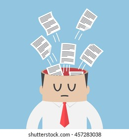 Data paper flying out from businessman head, information overload and data management concept