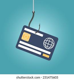 Data Phishing, credit or debit card on fishing hook, internet security. Flat design vector illustration