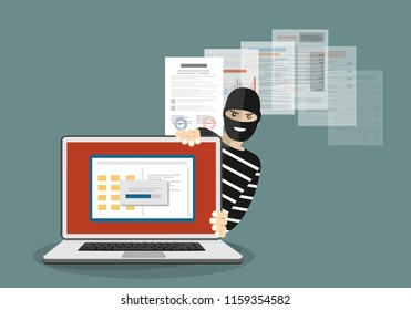 Data phishing, hacker attack. Thief hacker in mask stealing personal information from laptop. Useful for anti phishing and internet viruses campaigns. Concept hacking . Vector Illustration.