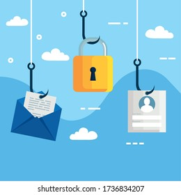 data phishing hacking online scam concept, with icons in hook vector illustration design