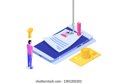 Data phishing isometric, hacking online scam on smartphone concept. Fishing by email. Cyber thief. Vector illustration.