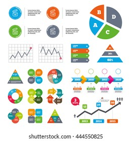 Data pie chart and graphs. After opening use icons. Expiration date 9-36 months of product signs symbols. Shelf life of grocery item. Presentations diagrams. Vector