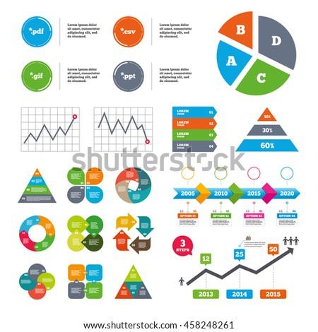 data pie chart graphs document icons のベクター画像素材