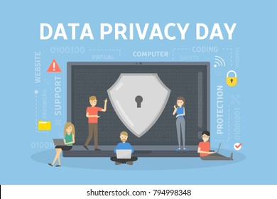 Data privacy day with lock on the screen.