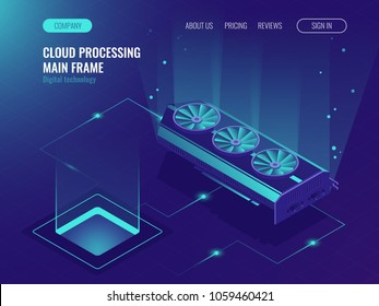 Data processing, computing power, mainframe service, data flow, internet data share ultraviolet isometric vector illustration