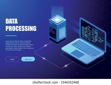 Data processing. Digital technology landing web page banner, database and big data processing concept. Software program development, code review, database concept, isometric vector illustration
