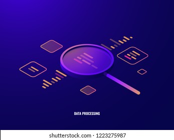Data processing isometric icon, business analytics and statistics, magnifying glass, data visualization, infographic dark neon vector