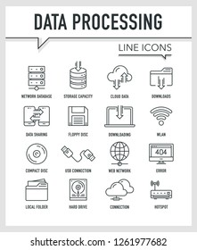 DATA PROCESSING LINE ICONS