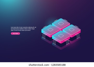 Data processing system isometric 3d, computer technology, server room and data analysis, processor supercomputer concept, microcontroller dark neon vector illustration