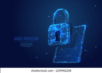 Data Protect. Lock on pc tablet device screen. Vector low poly wireframe in the form of starry sky or space, consisting of points, lines, and shapes in the form of stars with destruct shapes.