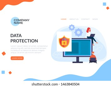 Data protection computer pc banner poster web banner page concept. Vector flat cartoon graphic design illustration