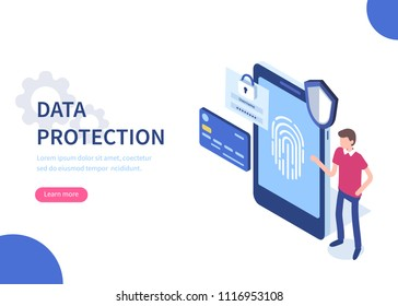 Data protection  concept. Can use for web banner, infographics, hero images. Flat isometric vector illustration isolated on white background.