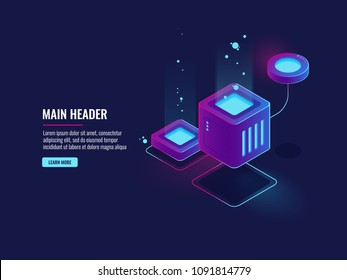 Data protection concept, firewall icon, server room cloud storage, information encryption, database conection dark neon isometric vector