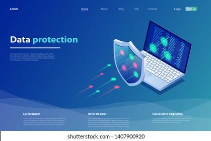 Datenschutzkonzept. Netzwerkdatensicherheit. Sicherheit, vertraulicher Datenschutz, Konzept mit Zeichenspeichercode. Isomometrisches Internetsicherheitskonzept. Cybersicherheitsmechanismus.