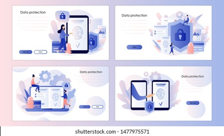 Data protection concept. Scan Fingerprint. Screen template for mobile smart phone, landing page, template, ui, web, mobile app, poster, banner, flyer. Modern flat cartoon style. Vector illustration
