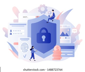 Data protection concept. Scan Fingerprint, Identification system. Modern flat cartoon style. Vector illustration
