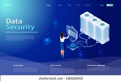 Data protection concept. Secure privacy data in internet. The protection of personal data in cloud storage. Concept with saving code and check access. Internet security, privacy access with password.