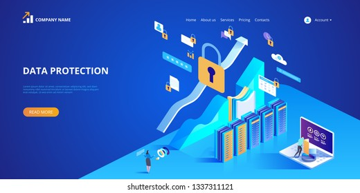 Data protection concept. Vector isometric illustration for landing page, web design, banner and presentation.