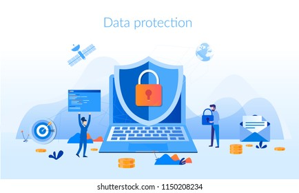 Data protection Concept for web page, banner, presentation, social media, documents, cards, posters. Vector illustration Network Security, People Character, Data security and privacy concept