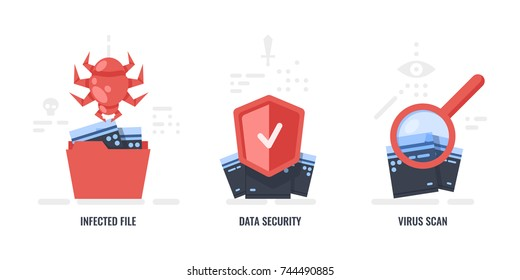Data protection concepts, infected files, data security, virus scan, folder with files flat icon vector illustration