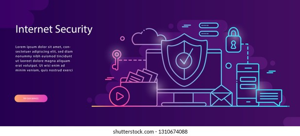 Data protection concept.Safety and confidential data protection, concept with characters. Internet security. Social Media. Can use for web banner, infographics,web page. Flat illustration. Vector