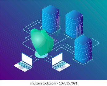 Data protection and cyber security concept.  Landing page template. Web hosting 3d isometric vector illustration.