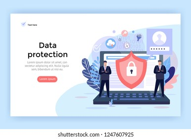 Data protection and cyber security concept illustration, perfect for web design, banner, mobile app, landing page, vector flat design.