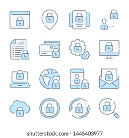 Data protection, Cybersecurity and Network privacy related blue line colored icons.