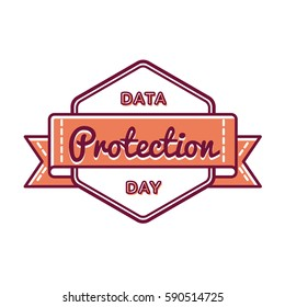 Data Protection day emblem isolated vector illustration on white background. 28 january world computer holiday event label, greeting card decoration graphic element