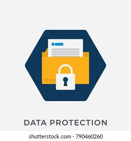 Data Protection Flat Banner for Websites. Vector Illustration of a File Folder and Document with a Lock