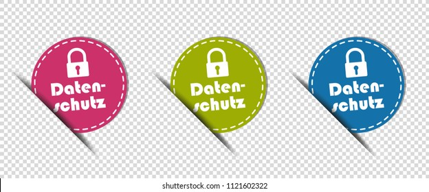 Data Protection German Cut Circle Buttons - Colorful Vector Illustration - Isolated On Transparent Background
