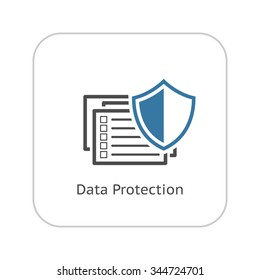 Data Protection Icon. Flat Design. Security Concept. Isolated Illustration. App button. UI Symbol.
