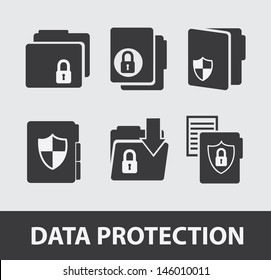 data protection icons over gray background vector illustration