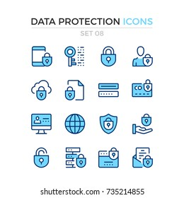 Data protection icons. Vector line icons set. Premium quality. Simple thin line design. Modern outline symbols, pictograms.