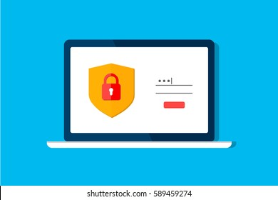Data protection, internet security concept infographic. Network secure. Vector shield lock, laptop computer screen isolated on blue. Padlock login password. Flat design template for website mobile app