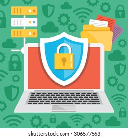 Data protection, internet security flat illustration concepts. Modern flat design concepts for web banners, web sites, printed materials, infographics. Creative vector illustration