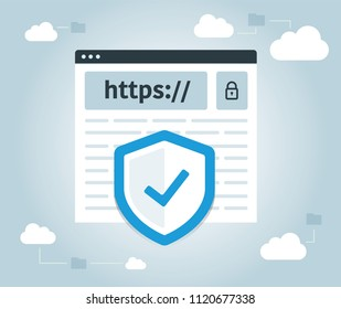 Data protection and internet security. https, website, web secure, cloud.