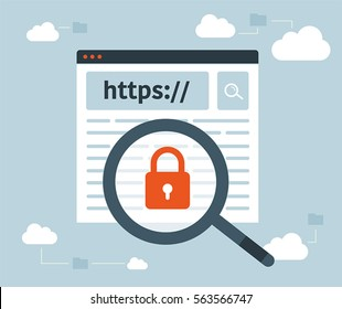 Data protection and internet security. https. Magnifying glass. Cloud