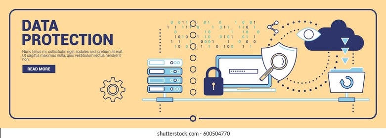 Data protection, internet security and modern technologies, payment security, information. Thin line design vector illustration for banners, sites and infographics.